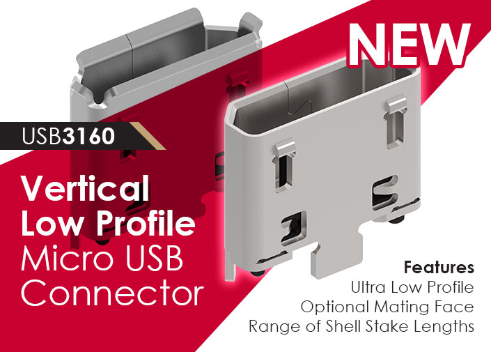 ultra low profile vertical micro usb connector