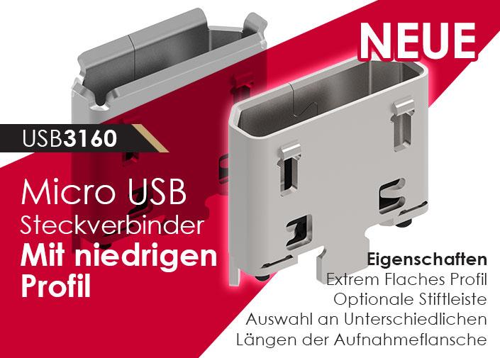 Vertikaler Micro USB Stecker